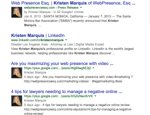 "A quick Google search of ""Kristen Marquis"" (Attorney & Founder of WebPresence, Esq.) shows several links with her avatar (i.e. headshot)."