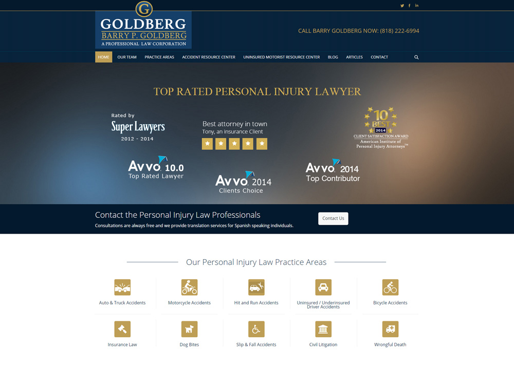 barry p goldberg uninsured motorist attorney personal injury law los angeles